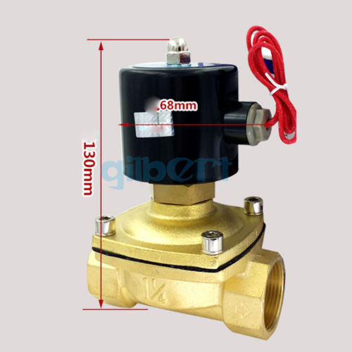 цена на DC12/24V AC110/220V 1-1/4BSPP Normally Open Brass Gas Oil Water Solenoid Valve