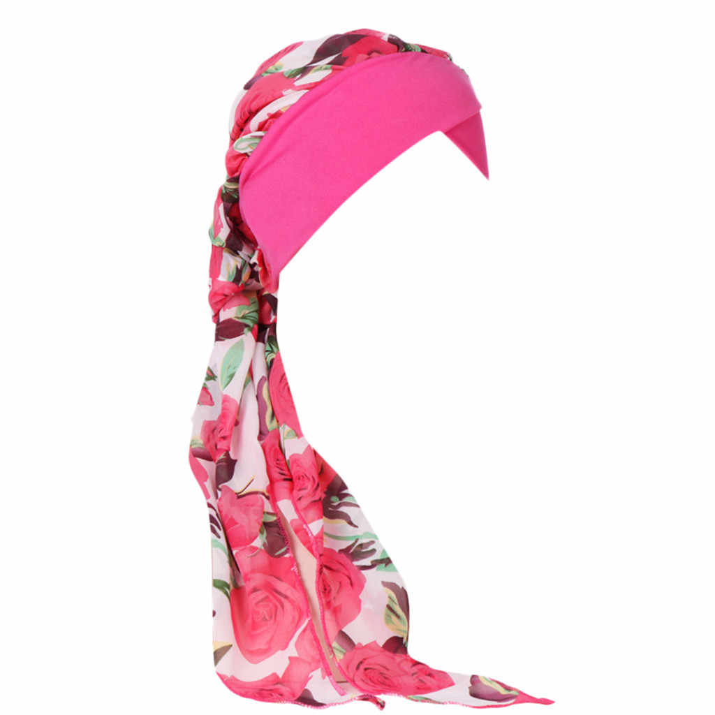 Цветок турбаны для женщин мусульманская химиотерапия шляпа хиджаб выпадение волос kopftuch damen головной платок тюрбан шапка обертывание тюрбанты niqab # P6