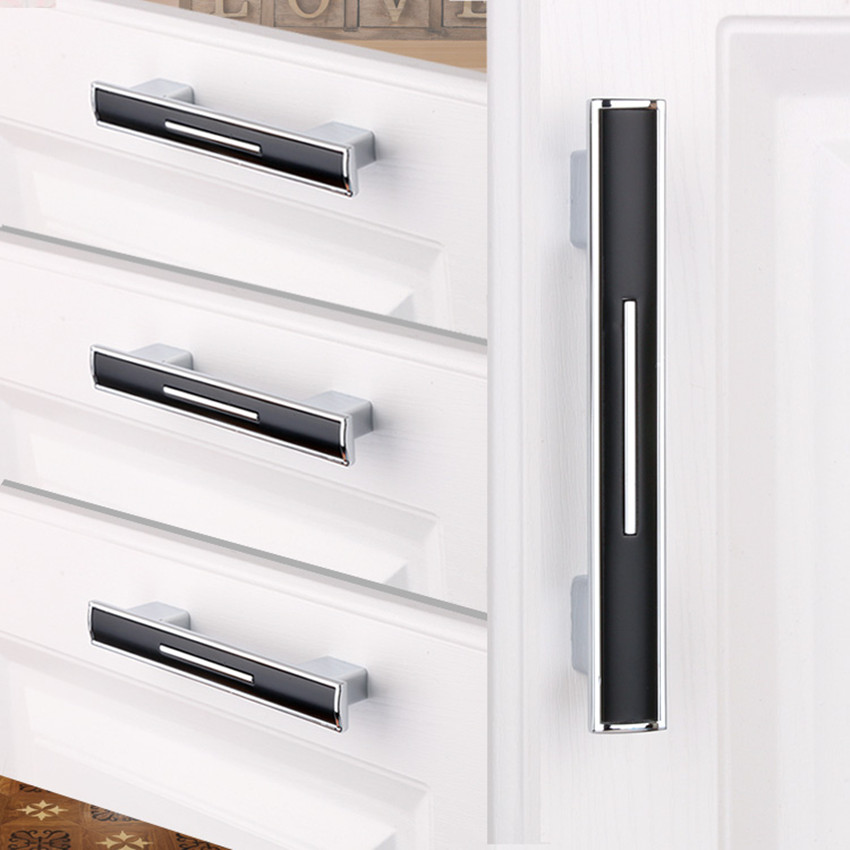 192mm 256mm modern simplefashion kitchen cabinet wardrobe door handles silver black drawer dresser cupboard knob pull 5 chrome 96mm glass crystal kitchen cabinet drawer handle knob silver golden dresser cupboard door pull modern fashion furniture handles