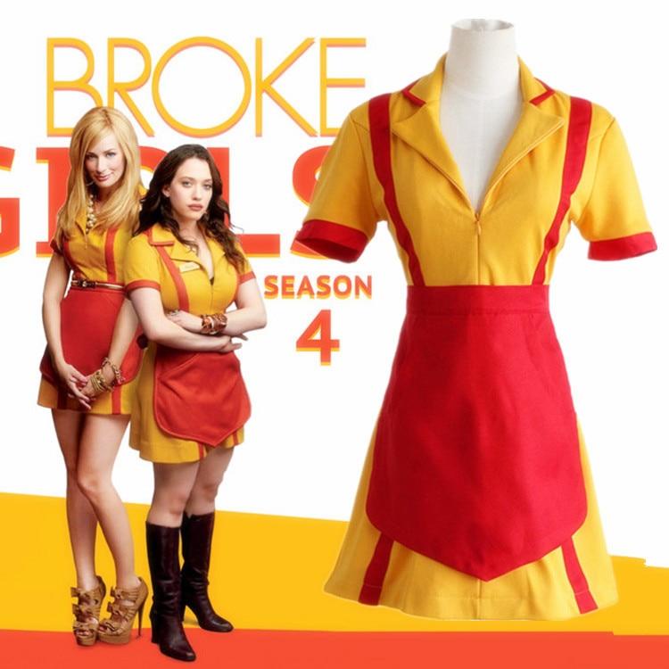 Hot Sale 2 Broke Girls Cosplay Costumes Max Caroline Women Dresses
