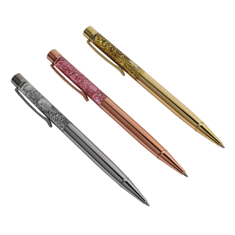 Luxury Ballpoint Pen Flow Oil Crystal Gold Foil Metal Copper Colorful Gold Powder Quicksand Office & School Supplies Stationery