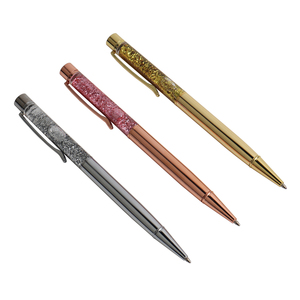 Luxury Ballpoint Pen Flow Oil Crystal Gold Foil Metal Copper Colorful Gold Powder Quicksand Office & School Supplies Stationery(China)