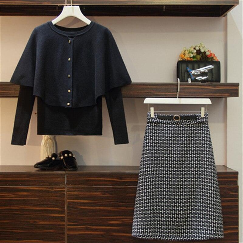 Lâche 69564 black Neploe Femmes Ceinture Sweat Pièces Costume Suit Automne Deux Taille Printemps Costumes 2019 Suit Brown Mode Occasionnel Plus Tricoté Plaid Jupe La FwnFfTqH