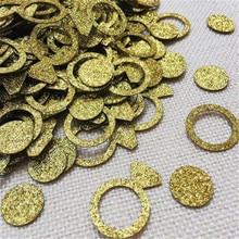 100Pcs Gold Glitter Dimond Ring Confetti Wedding Decor Birthday Hen Party Supply