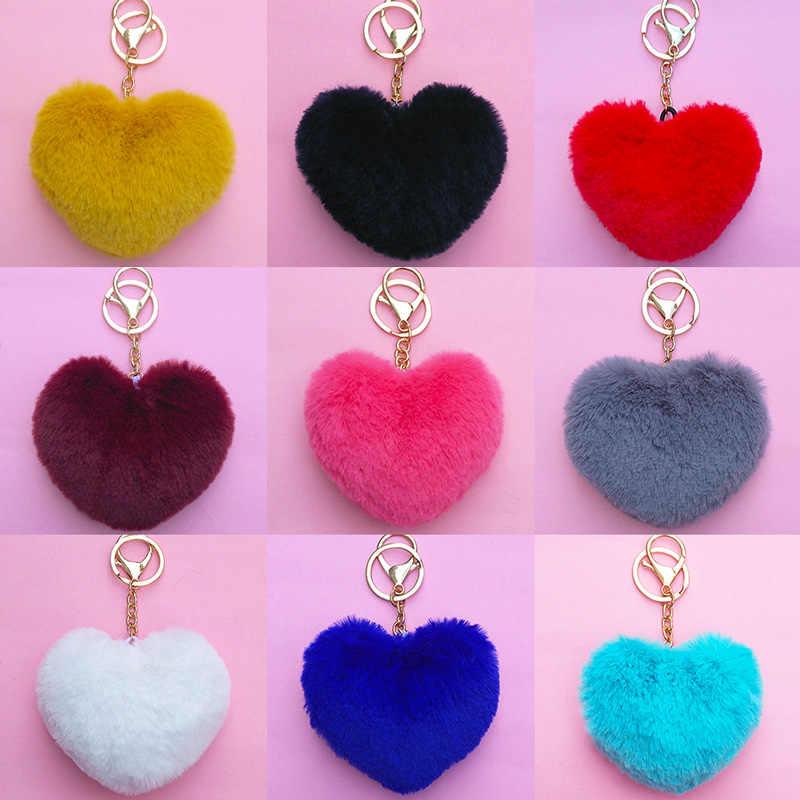 Coração Rainbow Plush Bolas Pompons Keychain Chaveiro Pingente Decorativo para Acessórios Chaveiros Moda Chaveiro Do Carro do Saco Das Mulheres
