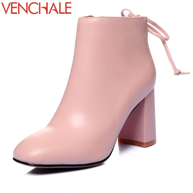VENCHALE ankle boots butterfly-knot soft breathable absorb sweat skid resistance square toe comfortable elegant women boots
