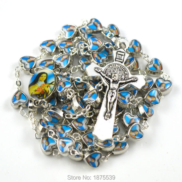 Saint Rita catholic rosary with two side same photo heart shape alloy bead