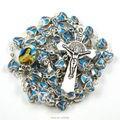 Santa Rita rosario católico con dos laterales misma foto en forma de corazón del grano de la aleación