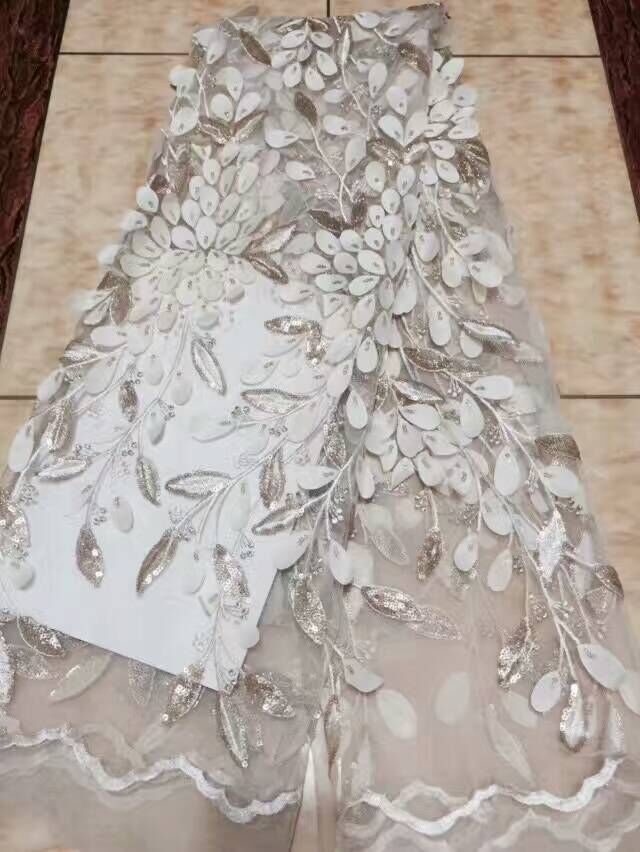 Sunny M39 Novelty 3d French Lace With Sequins Nd Applique 5 Yards/lot 2017 Latest Design African Lace Fabric For Wedding Dress Sequins Lace Arts,crafts & Sewing
