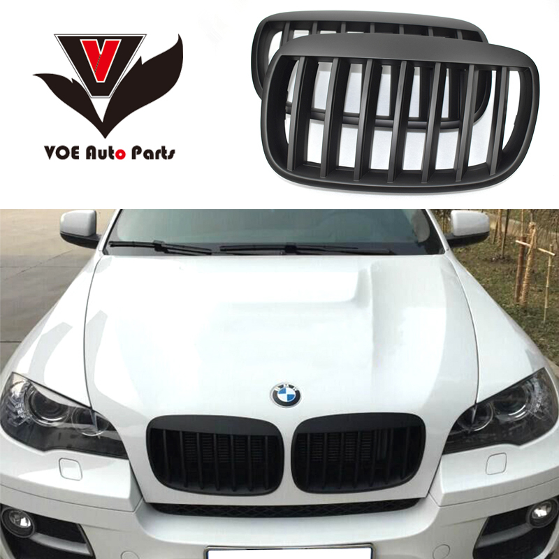2007-2013 Kidney Shape Modified Style Matte Black ABS Plastic E70 E71 Front Racing Grill Grille for BMW E70 X5 BMW E71 X6 1pair matte black double slat kidney grille front grill for bmw e70 e71 model x5 x6 suv m sport xdrive 2008 2012 car styling