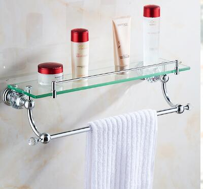 Bathroom Glass Shelf With Towel Bar Crystal Copper Chrome Plated