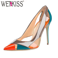 WETKISS High Heels Women Pumps Pointed Toe Stitching Footwear Shallow Party Female Shoes 2019 Spring Shoes Woman Plus Size 45