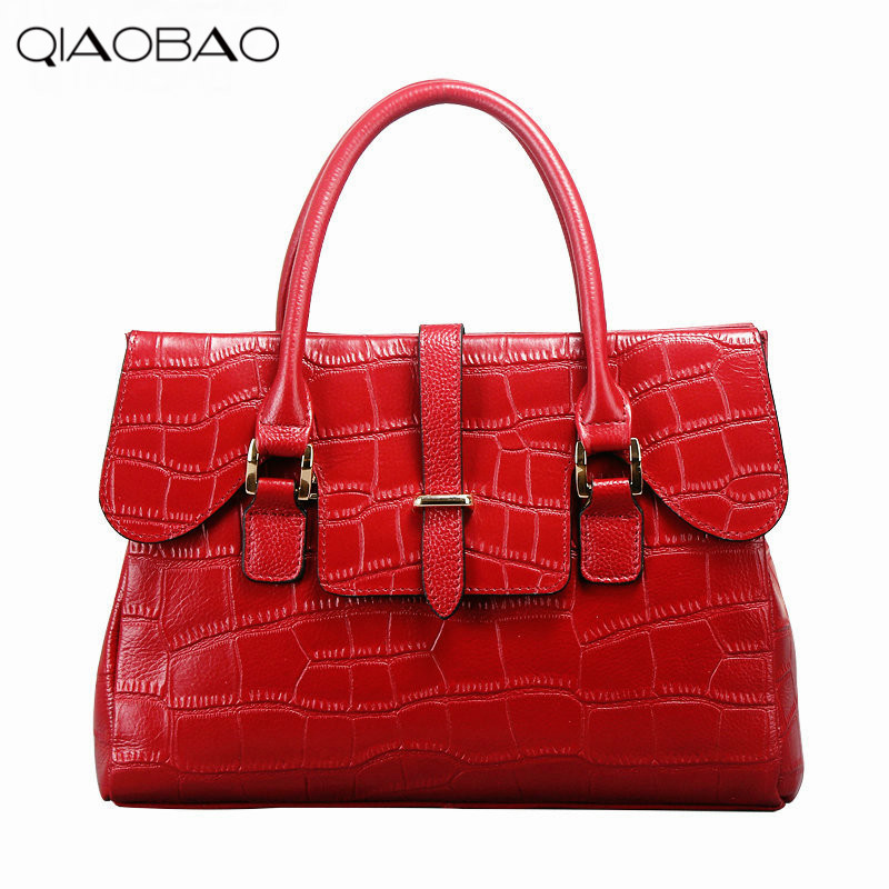QIAOBAO The New Leather Handbag crocodile pattern first layer cow leather handbag OL commuter leather big bag qiaobao 2018 new korean version of the first layer of women s leather packet messenger bag female shoulder diagonal cross bag