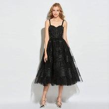 Tanpell black cocktail dress appliques beading spaghetti straps button tea length women party custom a line dresses
