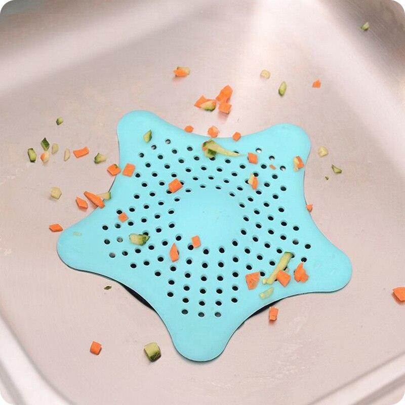 Кухонный Силиконовый Фильтр для раковины с пятиконечной звездой, фильтр для ванной комнаты на присоске, напольные стоки для душа, канализационный фильтр для волос, дуршлаги