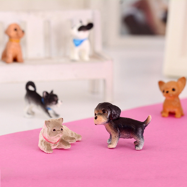 Miniature 1:12 Scale Simulation Dogs Dolls 6 pcs Set