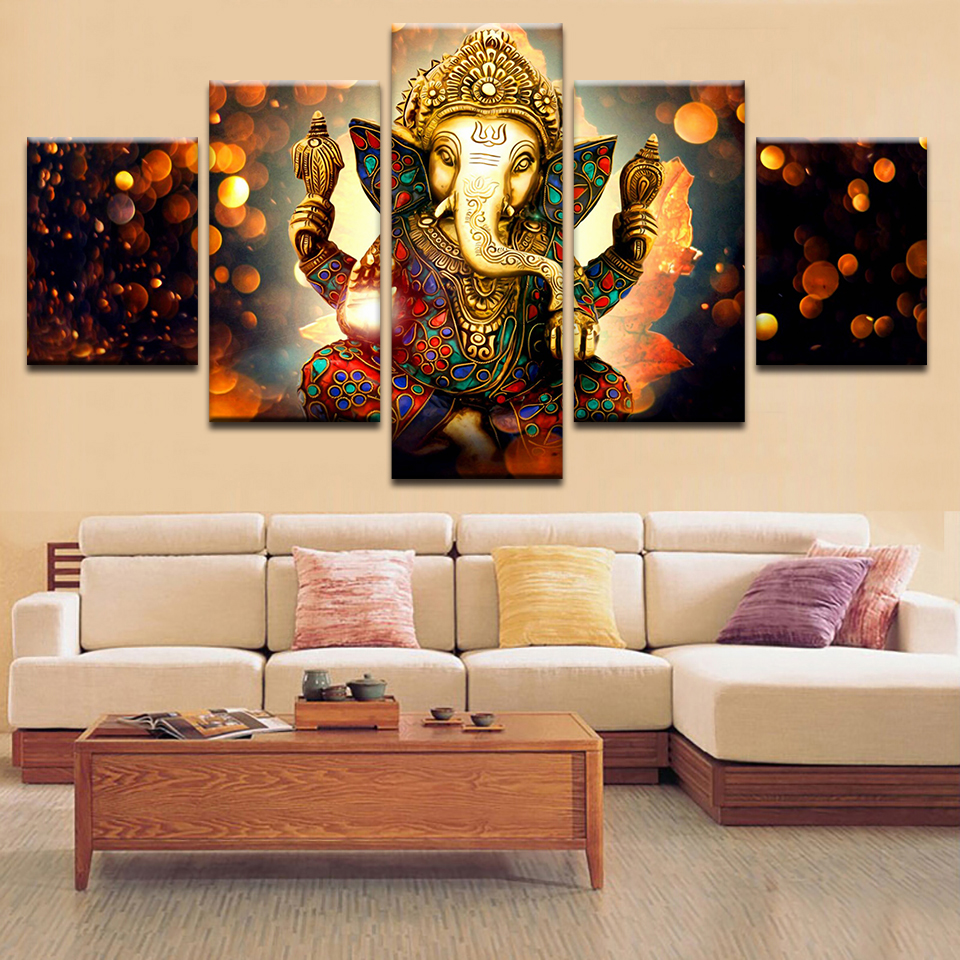 Art Canvas HD Print Painting Popular Wall Indian Elephant Lord Ganesha God Modular Picture Poster For Living Room Framework