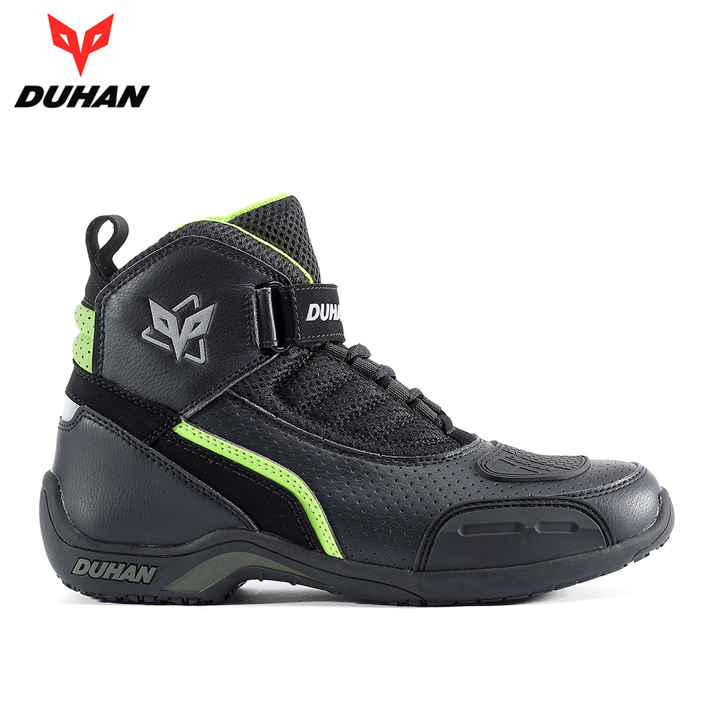 DUHAN Motorcycle Boots Men Summer Breathable Moto Boots Leather Motocross Off-Road Racing Boots Motorbike Riding Moto Shoes