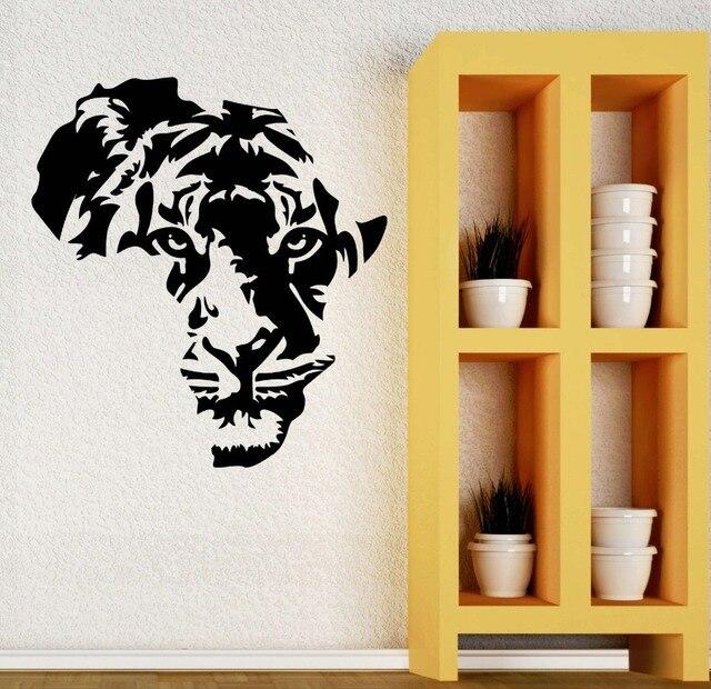Free shipping Tiger animal heads vinyl wallpaper art home living ...