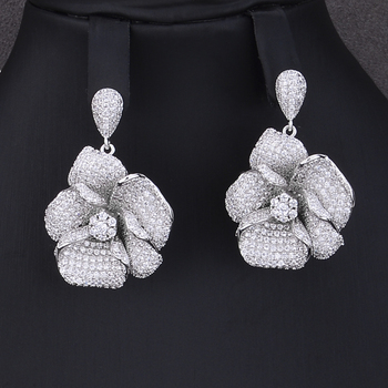 Crystal Sterling Silver Blooming Flower Pendant Jewelry Set 1