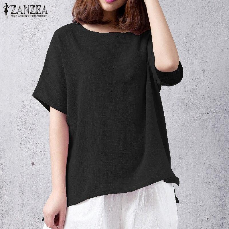Blusas Top 2018 ZANZEA Women Solid Cotton Linen Work Baggy Irregular Blouse Summer Casual O Neck Short Sleeve Loose Tee-Shirts