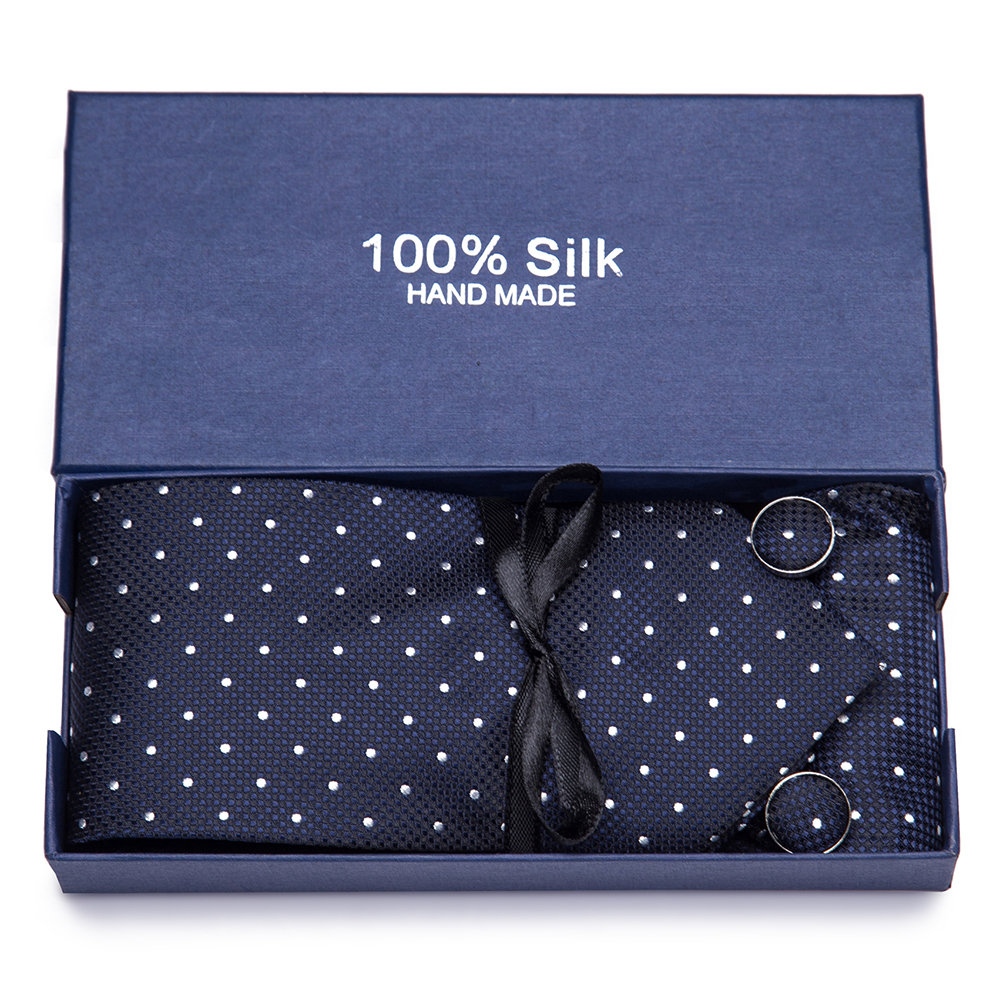 Gift Box 2019 Men`s Tie 100% Silk Jacquard Woven Necktie Hanky Cufflinks Sets For Formal Wedding Business Party