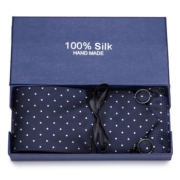 Gift box 2020 Men`s Tie 100% Silk Jacquard Woven Necktie Hanky Cufflinks Sets For Formal Wedding Business Party недорого