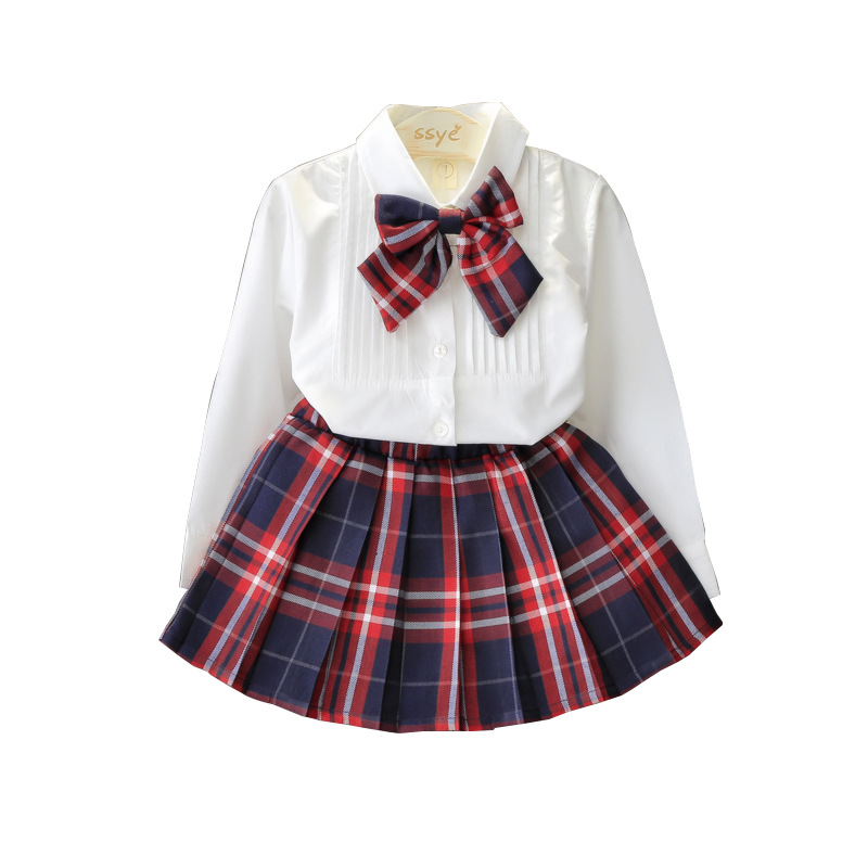 Primary School And Middle School Uniforms New Style Fashion Solid Color Shirt + Plaid Skirt Two Piece Style Fashion Uniform