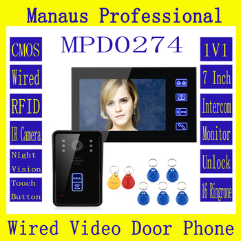 Videoportero de 7 pulgadas RFID, timbre de puerta, botón táctil, desbloqueo remoto, visión nocturna, sistema de videoportero uno a uno, Kit D274a|video doorphone systems|video doorphone|video door phone -
