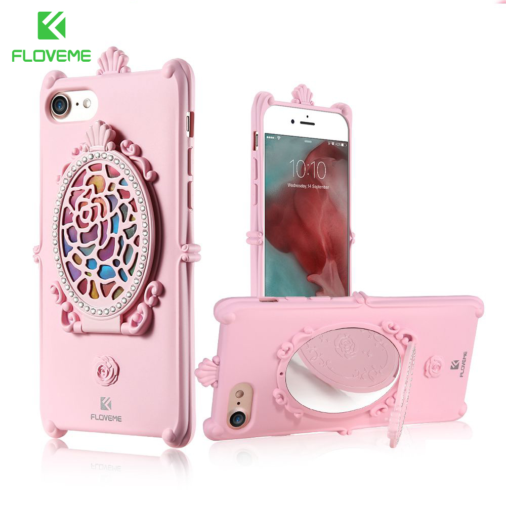 FLOVEME Glitter Diamond Case For IPhone 6 6S 7 Silicone Slim Kickstand Luxury Make Up Mirror
