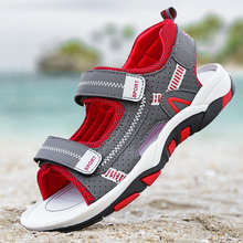 Ulknn menino sandálias 2020 verão nova moda menino estudante criança escorregar fundo macio criança sandálias de dedo do pé aberto