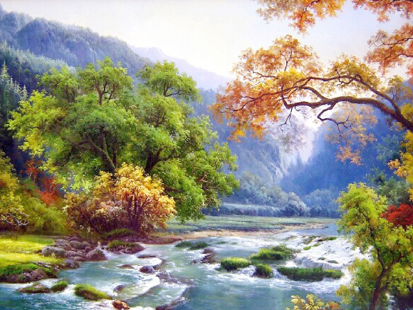 5D DIY Diamond Painting Crystal Square Diamond Painting Cross Stitch Mosaic Needlework River Tree Landscape Home Decorative