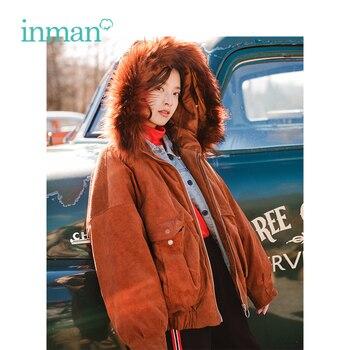 INMAN 2018 de invierno con capucha de Cuello de piel elegante dama  artístico estilo corto las mujeres ropa Casual cálido abrigo c8c6314fc909