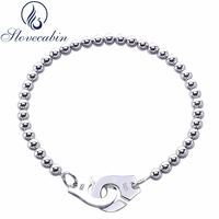 Slovecabin Luxury Jewelry Original 925 Sterling Silver Handcuff Friendship Bracelet Menottes For Women Silver Bracelet Bangle