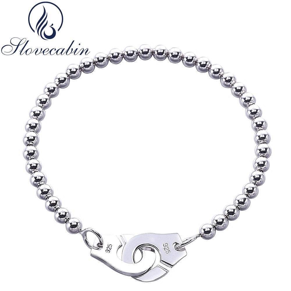 Prix pour Slovecabin Bijoux De Luxe D'origine 925 Sterling Argent Menottes Bracelet D'amitié Menottes Pour Femmes Argent Bracelet & Bracelet