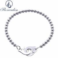 Slovecabin Luxury Jewelry Original 925 Sterling Silver Handcuff Friendship Bracelet Menottes For Women Silver Bracelet & Bangle