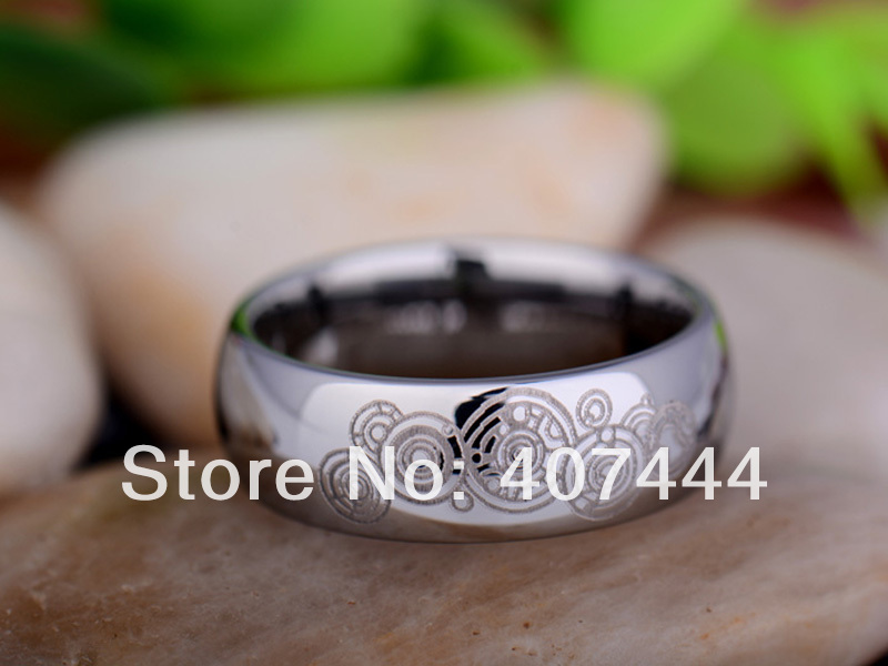Free Shipping USA UK Canada Russia Brazil Hot Sales 8mm Silver Domed Doctor Who Time New Men's Tungsten Carbide Wedding Ring doctor who archives prisoners of time omnibus