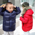 2016 Winter New Children Long Section Down Coats Boys Thick Warm Hooded Fur Collar Jackets Kids Girls High Quality Down Outwear
