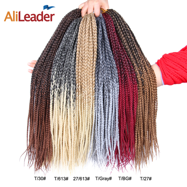 AliLeader 12-24 Inches Crotchet Box Braids Hair Extensions #1B/1/2 Blonde Brown Burgundy Crochet Braids Kanekalon Synthetic Hair