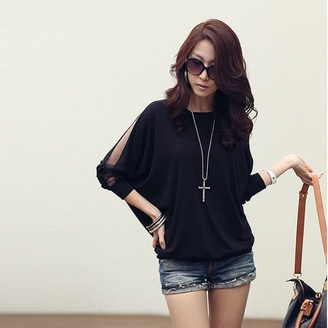 Free shipping Fashion Women's Trendy three quarter  Sleeve Loose T-Shirt Batwing Tops #5102