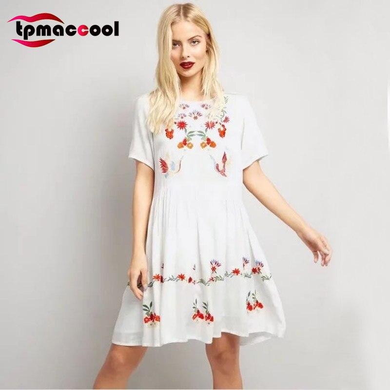 c9f791c0c Tpmaccool Occiden Fashion vintage Floral Embroidery Mexican Dress Women  Short Sleeve ethnic White boho Dresses retro Vestidos