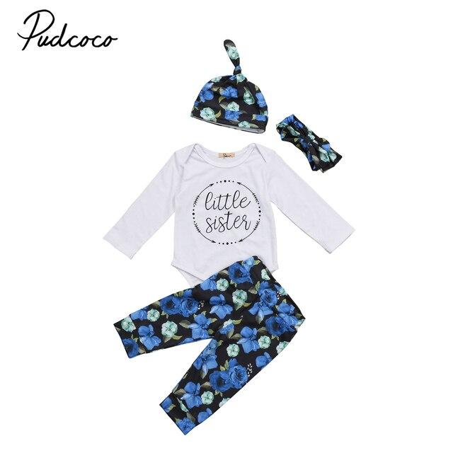 4 pcs Newborn Kid Baby Girl Floral Roupas Little Sister Macacão Bodysuit +  Calça + Chapéu 6bafd9de6f2