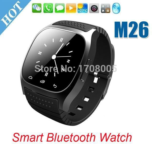 Smartwatch bluetooth smart watch m26 com display led/dial/alarme/music player/pedômetro para ios android htc móvel telefone