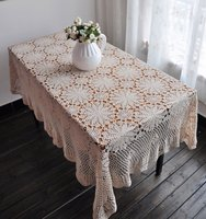 Free Shipping BEIGE Handmade Corcheted Tablecloth 51x67 130X170CM Oblong