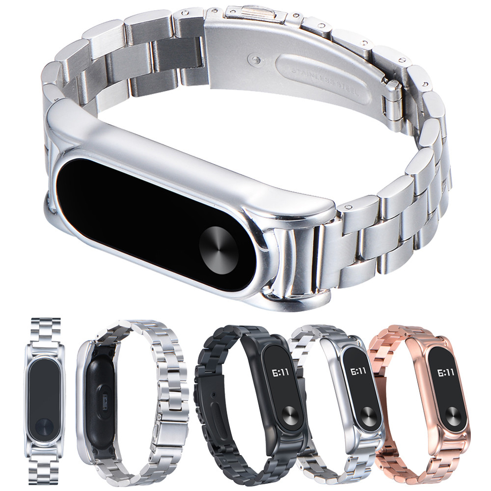 For Xiaomi Mi band 2 Stainless Steel Luxury Wristband Metal Ultrathin New Strap fitbit charge 2 band Leather 61200A
