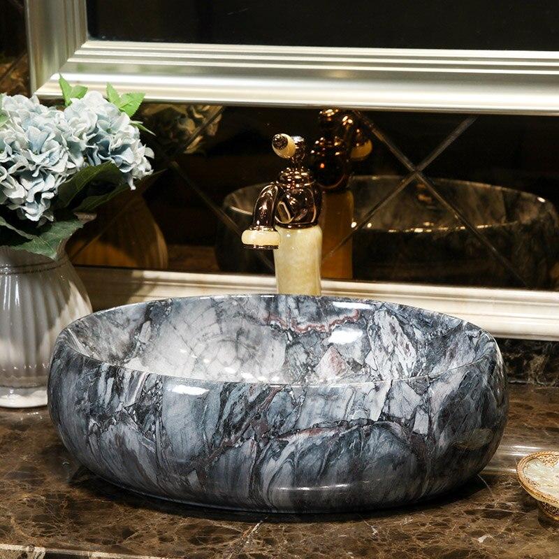 Jingdezhen Bathroom ceramic sink wash basin Porcelain Counter Top small oval ceramic Wash Basin Bathroom Sinks (4)