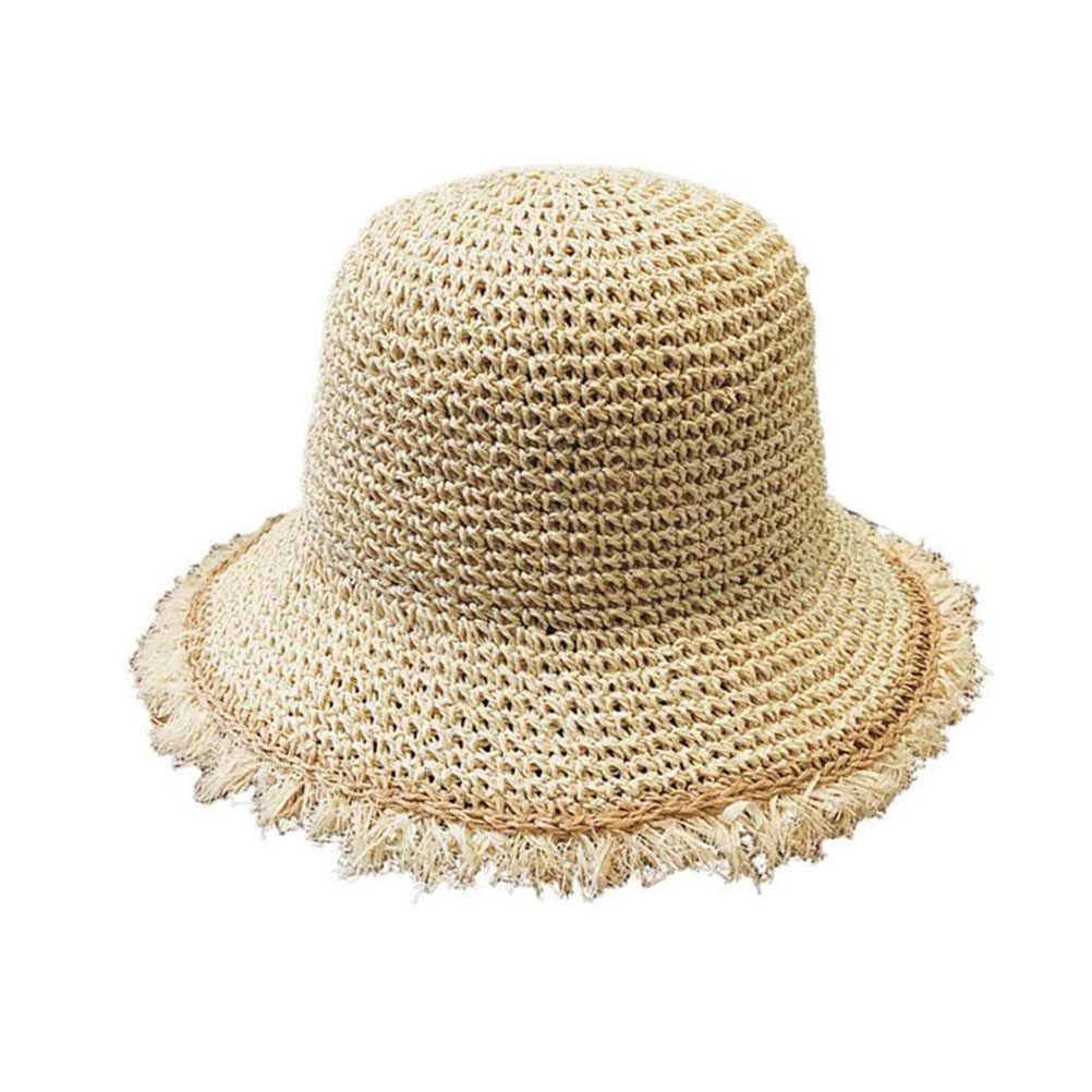قبعة قش قابلة للطي الشمس مرن واسعة الحواف دلو قناع الصيد الصيف الشاطئ واقية من الشمس صياد بنما كاب