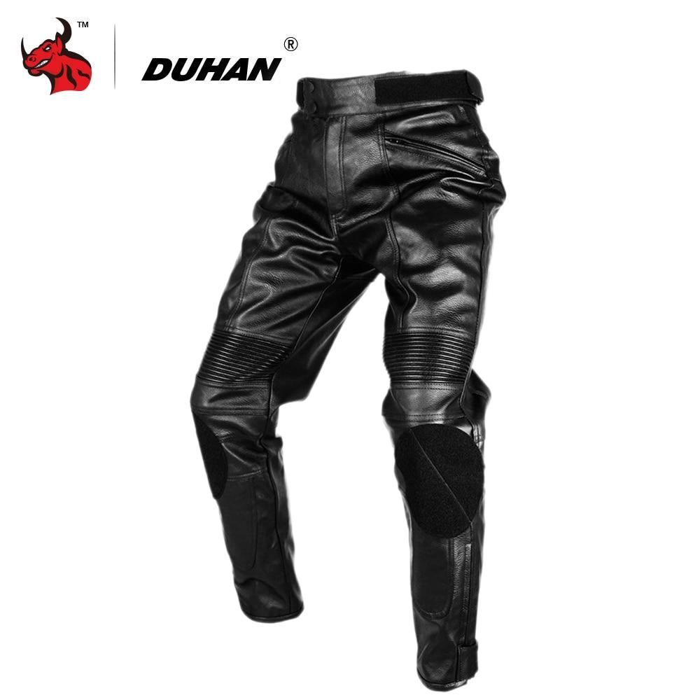 DUHAN Motorcycle Pants Waterproof PU Leather Motorcross Pants Men Moto Pants Riding Protective Trousers Black