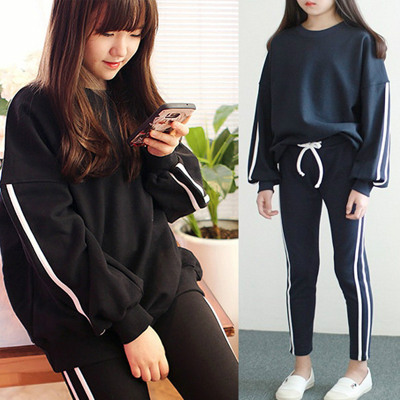 2017 New Style Family Matching Outfits Mother and Daughter Long Sleeve Striped Sweatshirt+Pants 2Pcs Suit Family Look CC494 contrast striped sweatshirt
