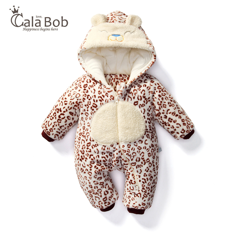 CalaBob Newborn Baby Winter Clothes Thick Warm Coral Velvet Baby Boy Jumpsuit Hooded Leopard Baby Girl Rompers Infant Clothing calabob autumn winter baby rompers long sleeve cotton cartoon animal jumpsuit infant newborn clothing baby boy girl clothes
